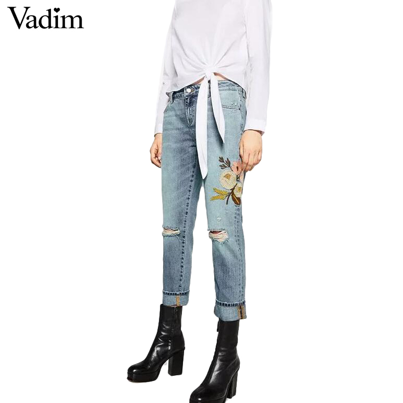 Women sweet floral embroidery holes denim jeans pockets ankle-length pants ladies casual brand streetwear trousers KZ837