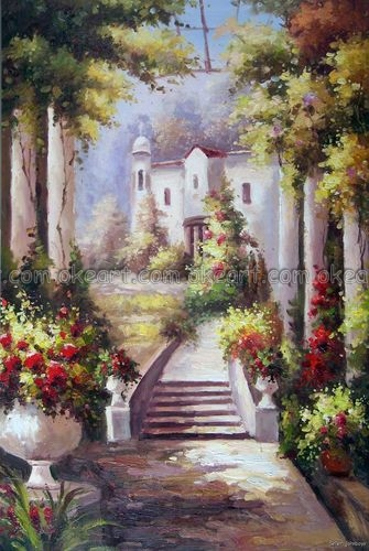 100% hand painted Italian Estate Home Tuscany Terrace Flowers Forest Trees Oil Painting Art free shipping High quality(China (Mainland))