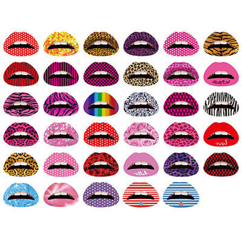 Hot Sale Personalized Temporary Lips Tattoo Sticker Lipstick Art Transfers Many Designs Colorful Fancy Dress Party Lip Makeup(China (Mainland))