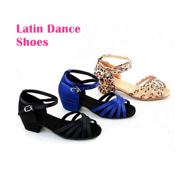 2015 Children Shoes High Heels Princess Dancing Shoes Girls Leopard Women's Latin Dance Shoes Female Kids(China (Mainland))
