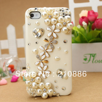 Hard cell phone Case Cover for iphone4/4S,bling Rhinestone Crystal shiney Diamond fashion pearl flower/ free shipping