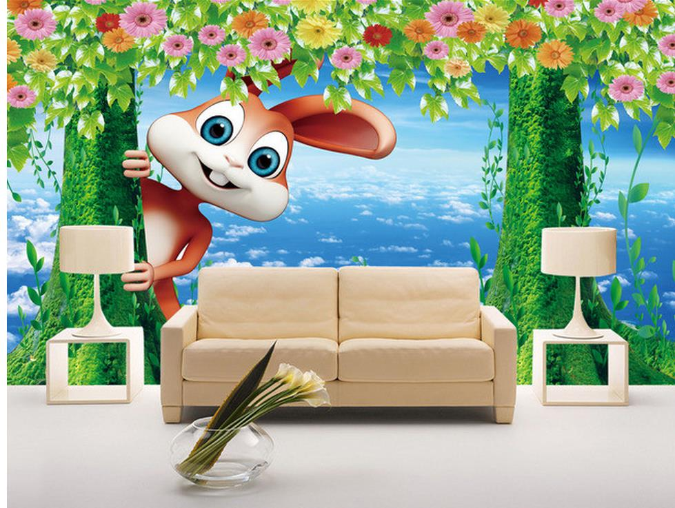 Custom photo wallpaper large 3d sofa tv background for Cartoon mural wallpaper