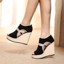 Super High Heels Lady Woman Party Date Peep Toe Platform Wedges Female Slip On Summer Spring Cut Out Short Sandal Pumps Shoe