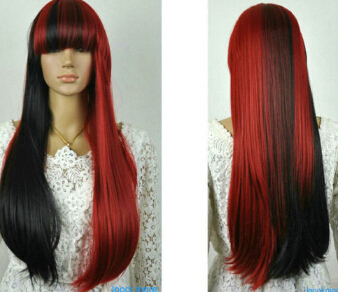 REE SHIPPING Express delivery to USA Burgundy Mixed Long Straight Cosplay Anime party Synthetic Wig(China (Mainland))