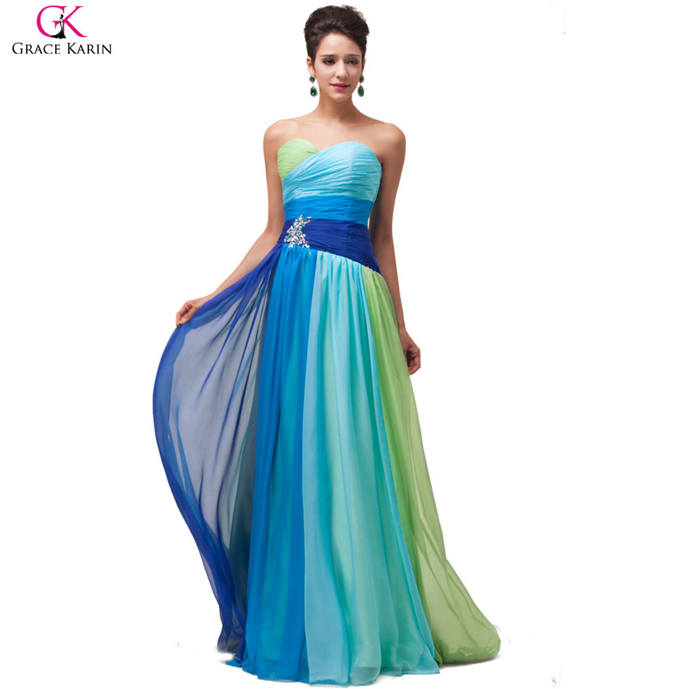 New Designer Robe Grace Karin Ombre Strapless Long Beaded Chiffon Formal Evening Gowns Dinner Dress Party Dresses Colorful 6069(China (Mainland))