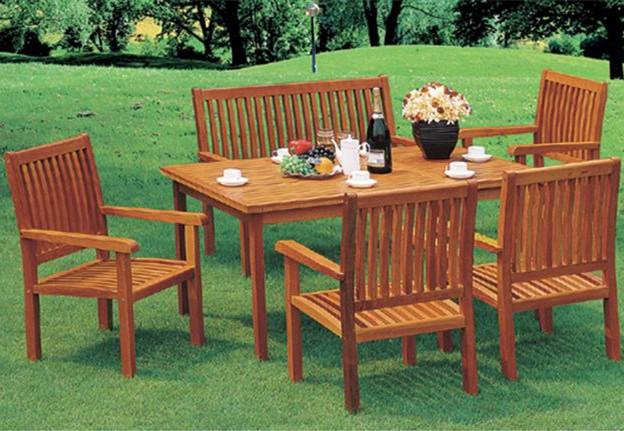 Exterior de madera de madera mesa de comedor y sillas de for Sillas comedor jardin