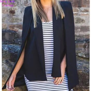 Vintage Shawl Collar Split Sleeve Cloak Blazer Cape 2015 New Women's Autumn Solid Color OL Suit Jacket Coat Black , White