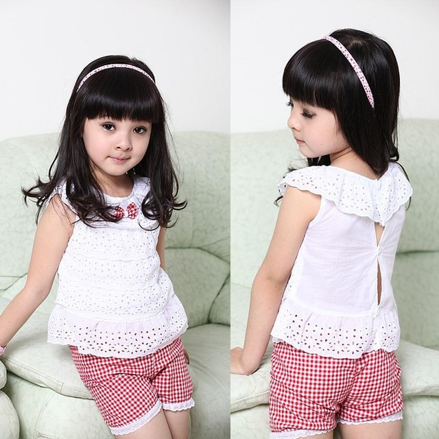 free shipping13 New Summer Kids Clothing Set Lace Children Girl Clothes Set T Shirt Lattice shorts Pants 2 Colors Infant Garment