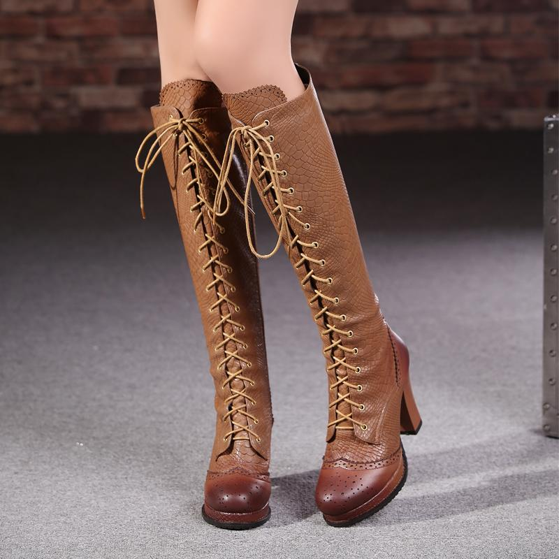 AA269 fashion high quality genuine leather women boots knee high women motorcycle boots high heels vintage platform winter boots<br>