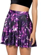 Hot Sell Purple Pattern Pleated Short Skirt Women's Fashion 2016 High Waist Pleated Spring Summer Mini Skirt For Girls