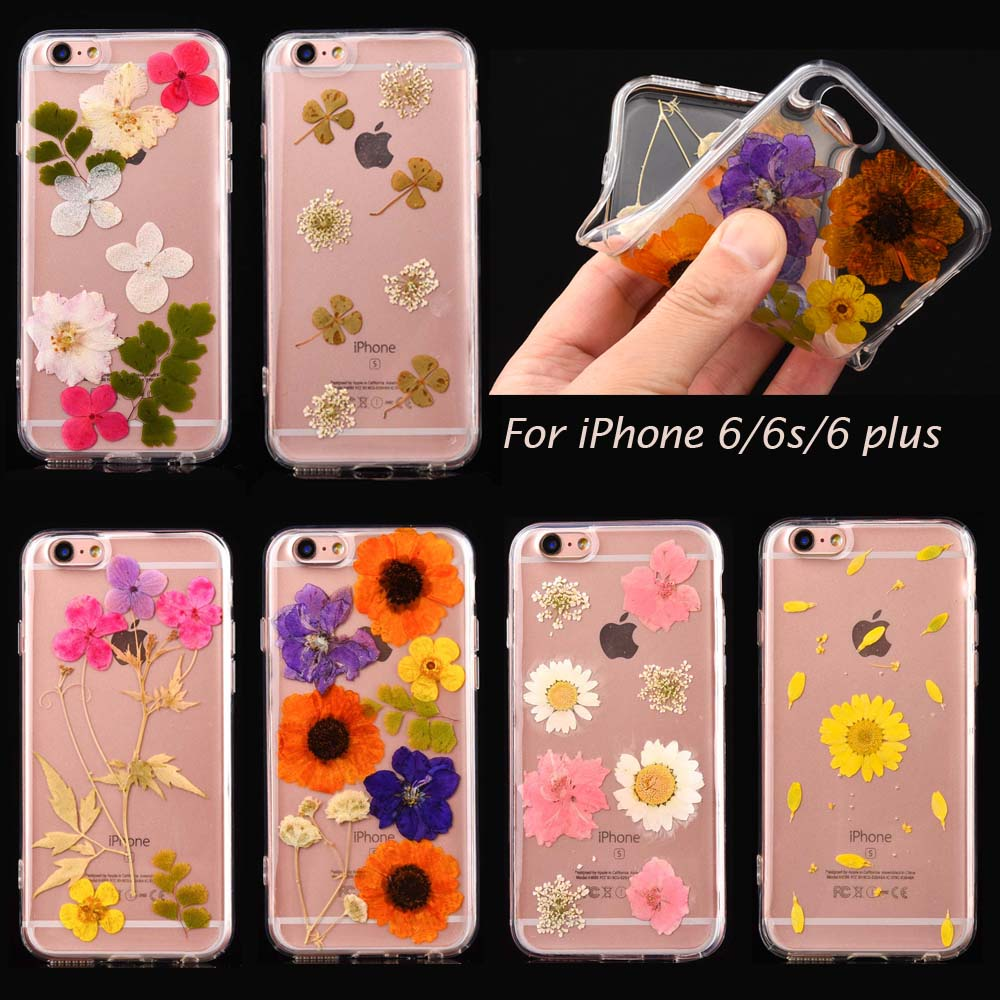 Unique Handmade Real Flowers Pressed Soft Case for Apple iPhone 6 6s plus Skin Coque Gel Shell Cover cases Floral daisy(China (Mainland))