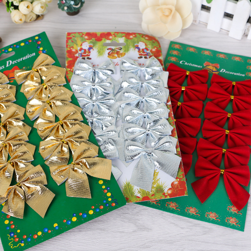 12pcs one color Christmas Tree Bow Decoration Baubles Merry XMAS Party Garden Bows Ornament gold bows(China (Mainland))