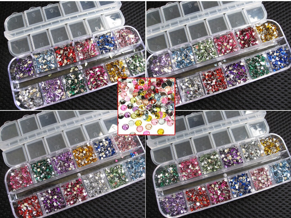 3600 pcs 3D Clear Silver 2mm round Nail Art Sticker Gems nail Rhinestones Deco Glitters Beautiful Nail Decoration 2064#JL(China (Mainland))