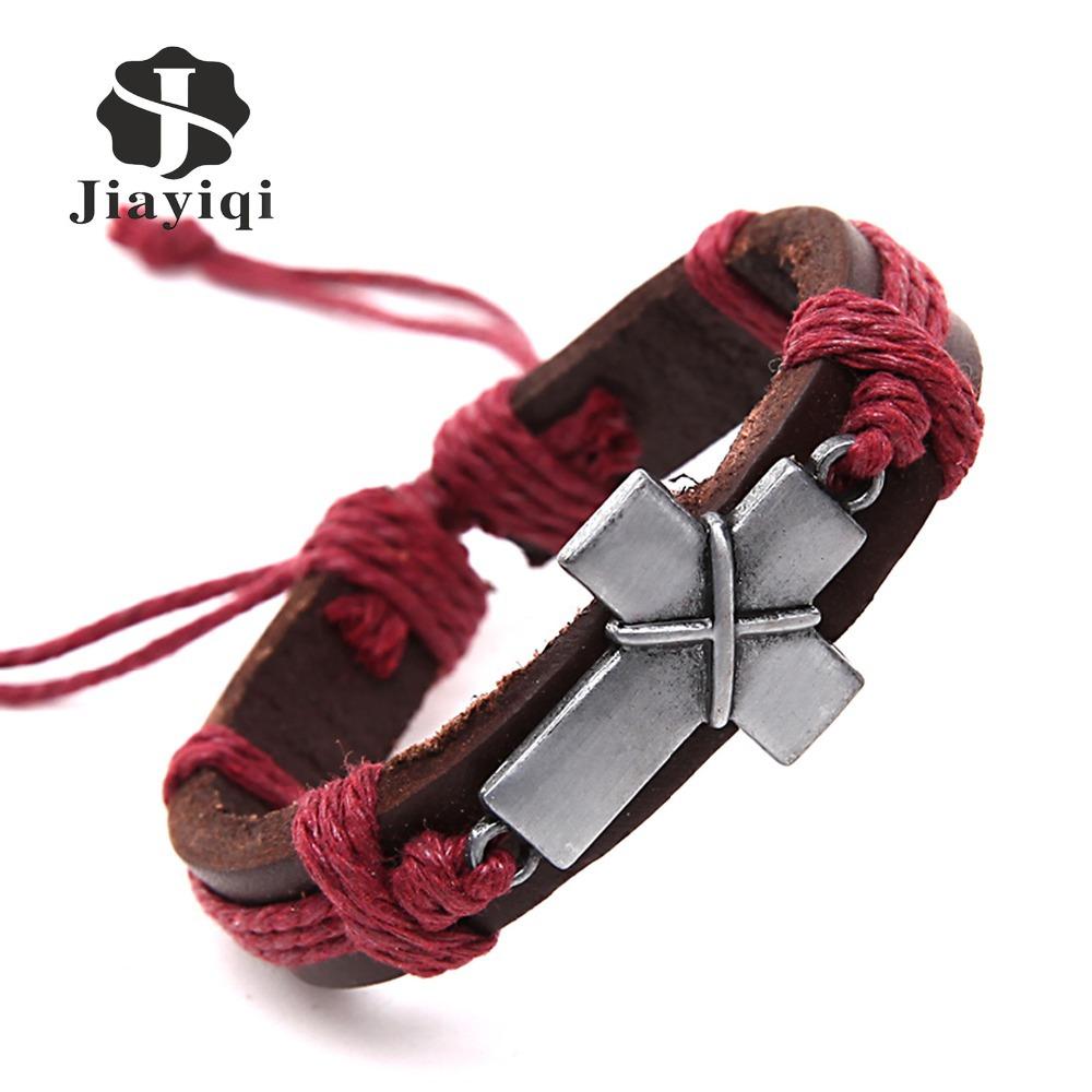 Cross Charm Genuine Leather Bracelets Men Bracelets for Women Wristband Bracelet Cord(China (Mainland))