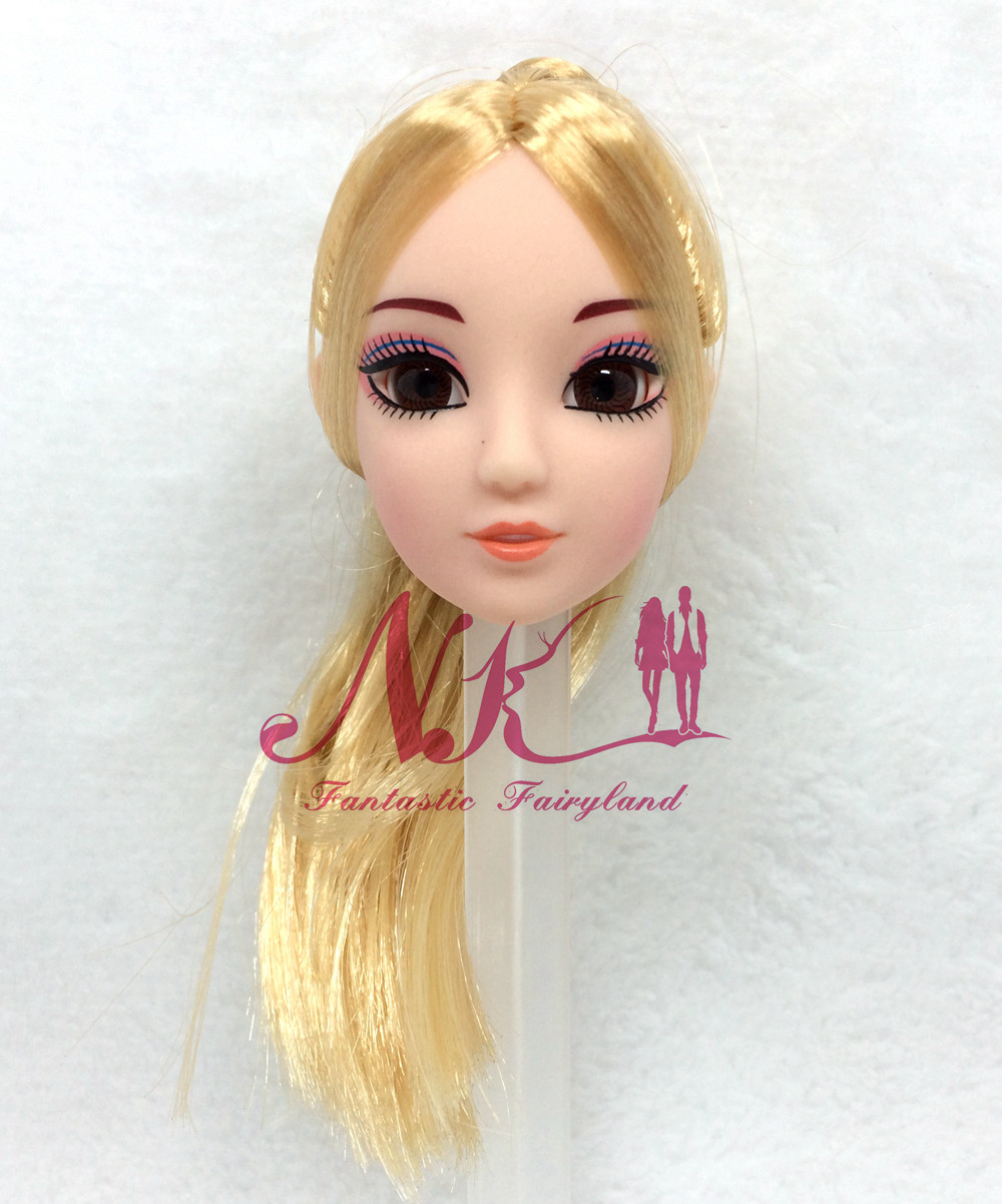 NK One Pcs Vogue Doll Head GoldenHair Reasonable Eyes DIY Equipment For Barbie Kurhn Doll Greatest Lady' Reward Little one DIY Toys 024P