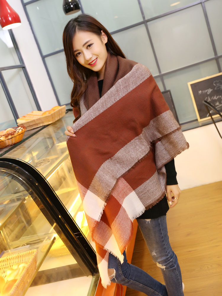 New winter worsted cashmere unisex Brand Big Size plaid blanket Scarves shawls women's female knitted pashmina chirstmas gift