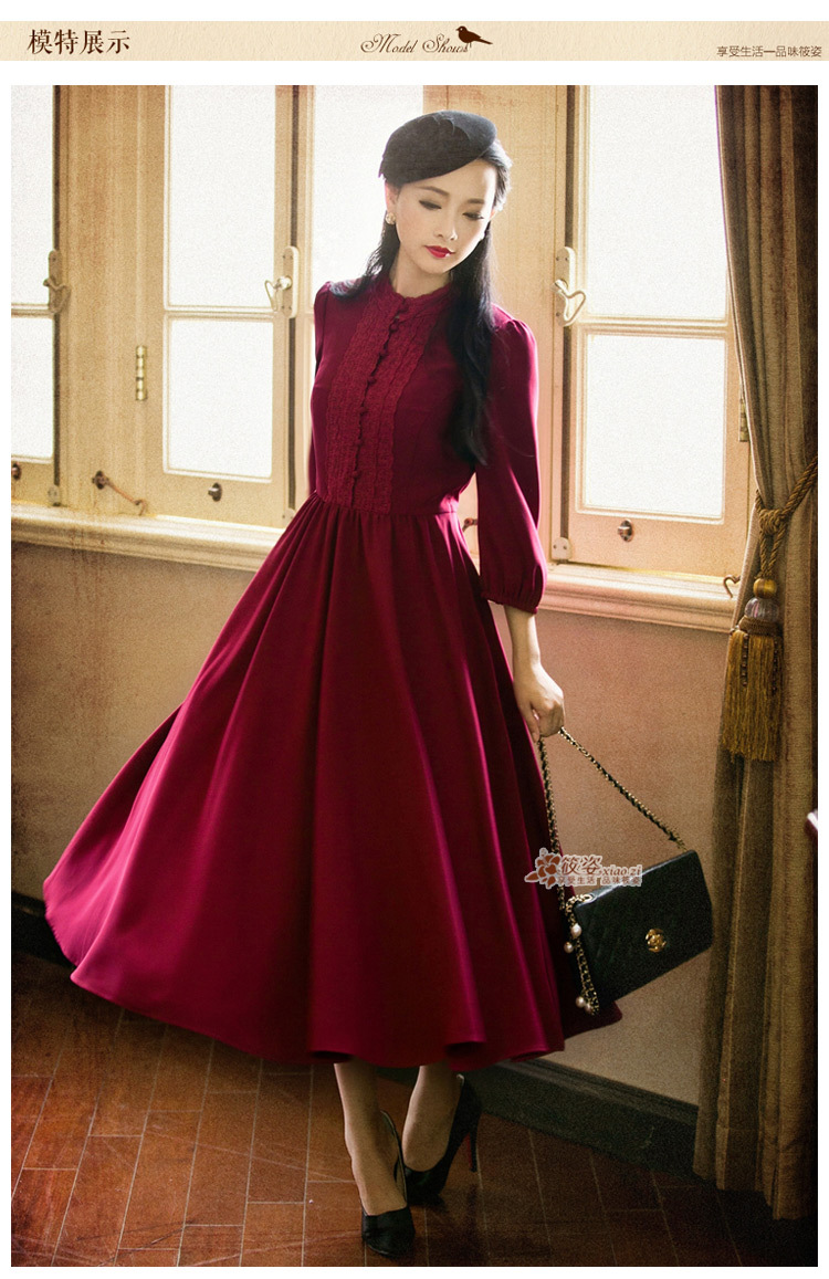 Demon Style 2015 Autumn Vintage Women 39 S Elegant Classic Swing Hem Dresses Women 39 S Clothing