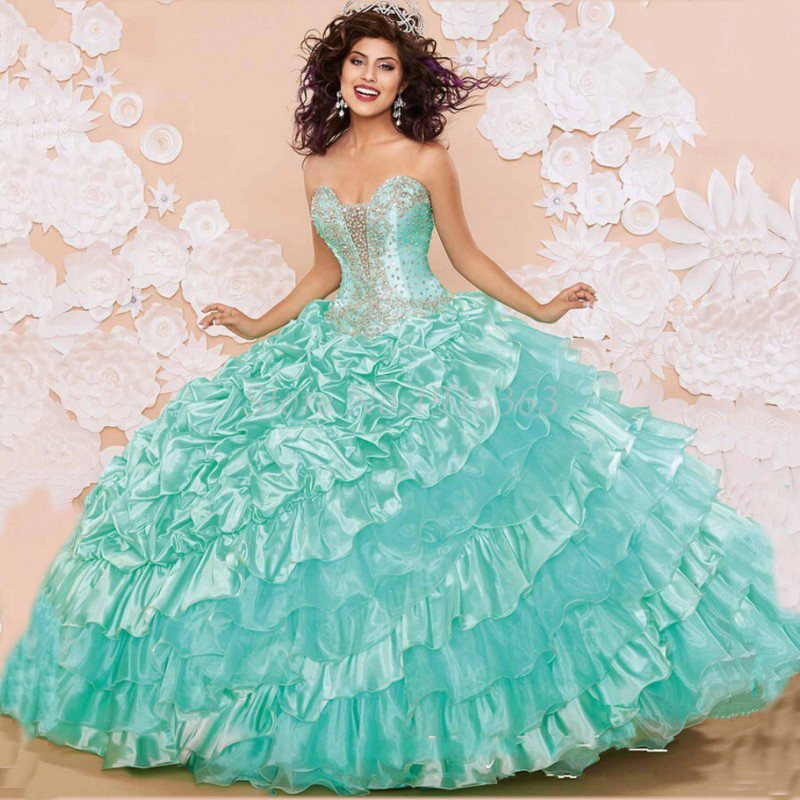 Cheap Quinceanera Gowns Vestido De Debutante Dress 15 Years Sweet 16 Purple Mint Green Quinceanera Dresses With Jacket Ball Gown(China (Mainland))