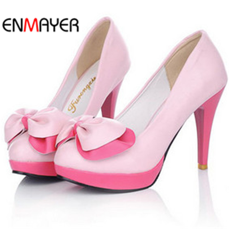 ENMAYER bowtie round toe girls pumps sweet party shoes multi-color platform women pumps thin high heels wedding shoes<br><br>Aliexpress