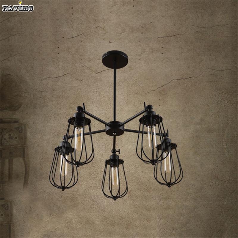 Large Vintage Loft Black Wrought Iron Spider Chandelier for Dining room  restaurant Lounge Light Fixture Pendant