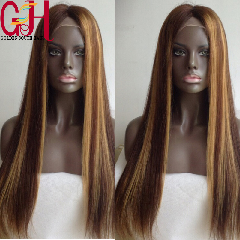 2015 Hot Soft Straight Brazilian Virgin Hair Full Lace Wigs Human Hair Lace Front Wigs 613 Highlight Glueless Full Lace Wig <br><br>Aliexpress