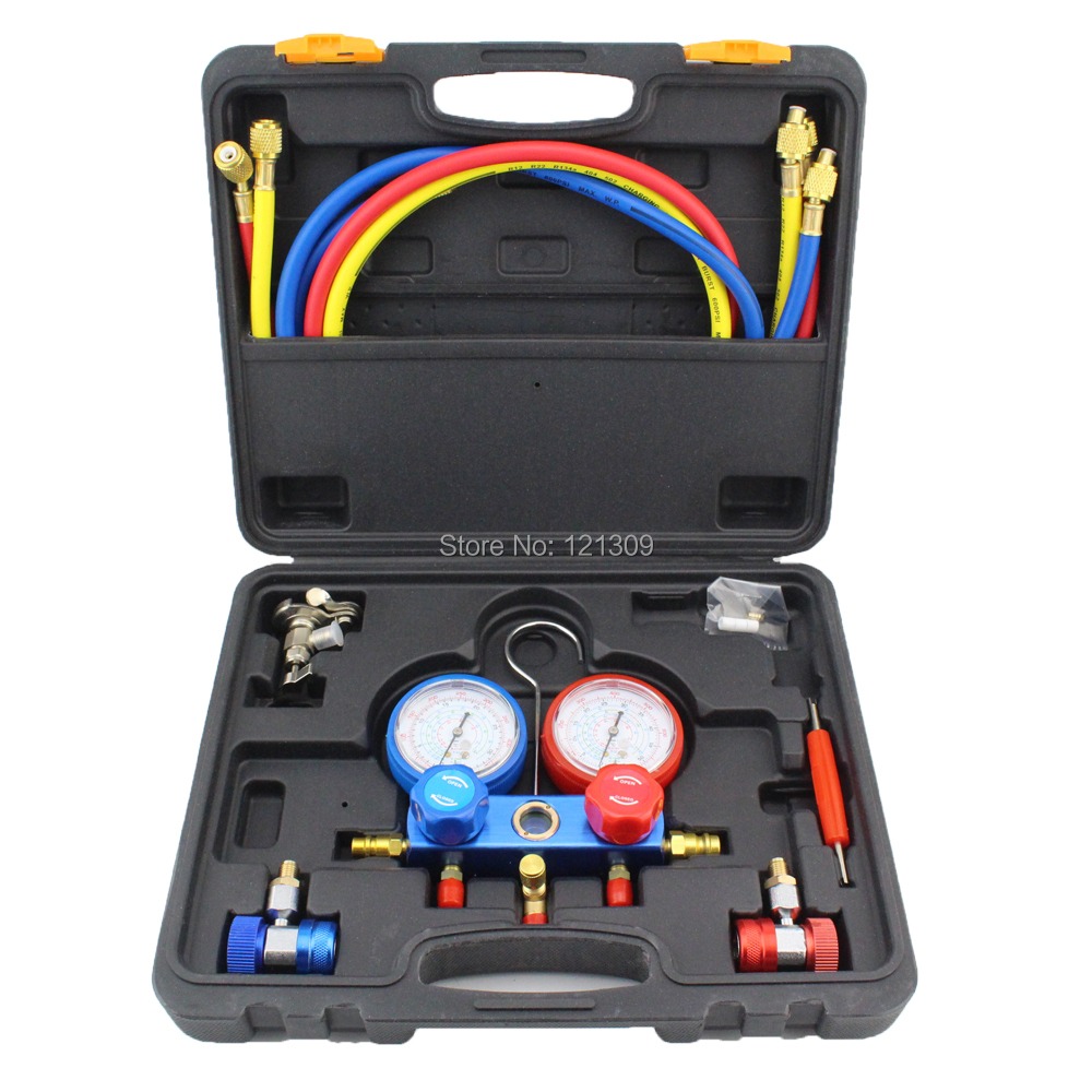 Refrigeration Air Conditioning Manifold Gauge Maintenence Tools freon adding gauge for R134A Car Set With Carrying Case