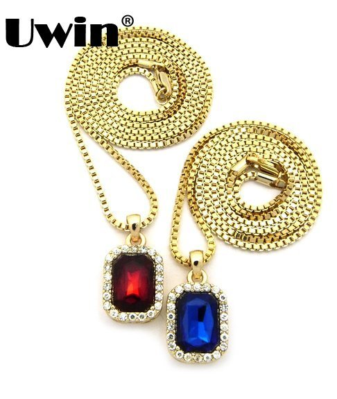 "Men Iced Out Micro Mini Pendant Necklace Pave Blue & Faux red Stone Pendant Set With 2.4mm 24"" Box Chain Goldtone Small Size(China (Mainland))"