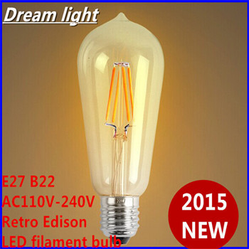 2015 NEW Design 5PCS LED filament Edison bulb 2W 4W 6W 8W E27 220V AC led light lamp 110LM/W White/Warm White free shipping(China (Mainland))