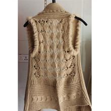 2015 Spring New Fashion Rabbit Fur Shawl Women Sleeveless Knitted Sweater Hollow Out Casual Cardigan Shawl(China (Mainland))