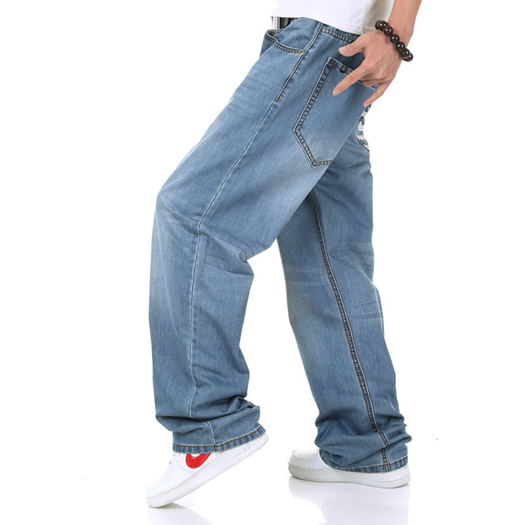 Plus size 34-46 ( hip 145cm )2014 new plus size hip hop jeans loose jeans wide leg
