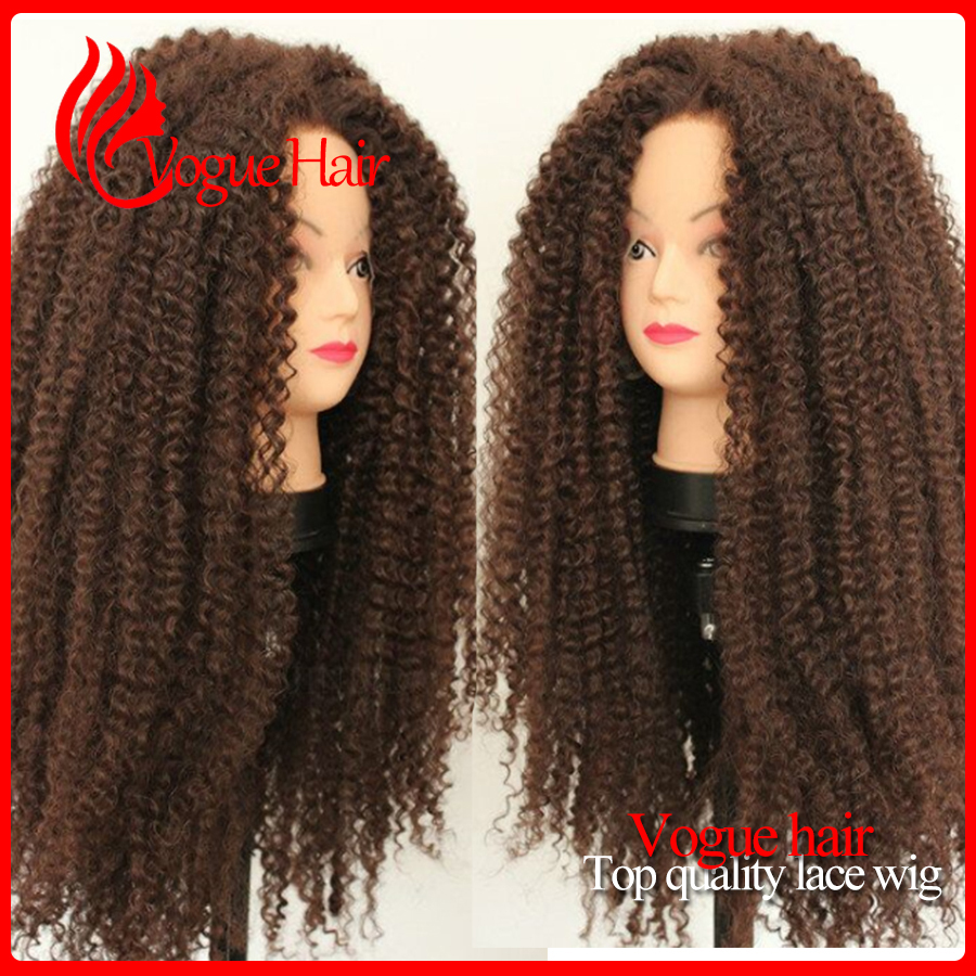 150% Density Glueless synthetic lace front Wigs #33 medium brown Lace Front Wigs heat resistant kinky curly wigs For Black Women<br><br>Aliexpress