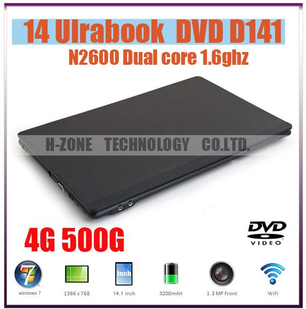 Brand New cheap laptop notebook pc 14 inch Intel Atom N2600 1.6Ghz dual core 4GB DDR3 500GB HDD Webcam DVD-ROM Freeshipping(Hong Kong)