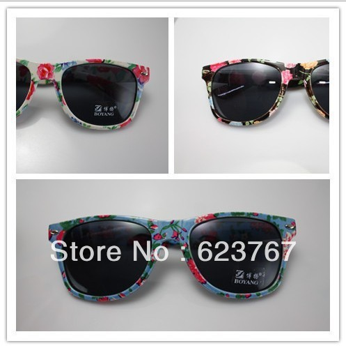 Free shipping 2013 latest women beach retro the female floral pattern sunglasses