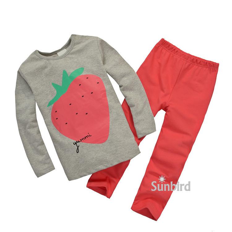 TS-55, strawberry, 6sets/lot (18M-6T), Baby/Children girls Clothing sets, long sleeve sweatshirts sets<br><br>Aliexpress