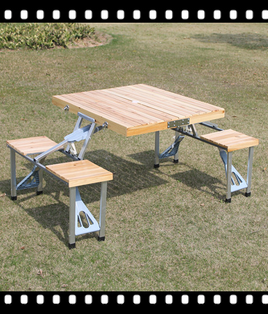 Promotional outdoor furniture FREE SHIPPING New Outdoor Garden Wooden Portable Folding Camping Picnic Table With 4 Seats(China (Mainland))