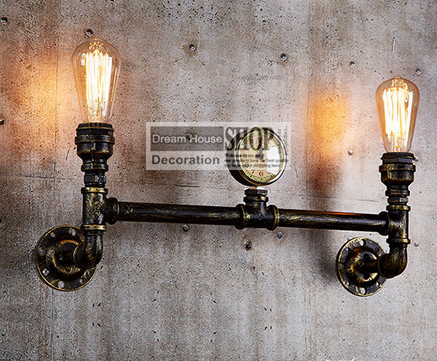 Aged steel pipe lighting Industrial water pipe lamps black or brass finished 110V/220V E27 2-arm iron edison chandelier<br><br>Aliexpress