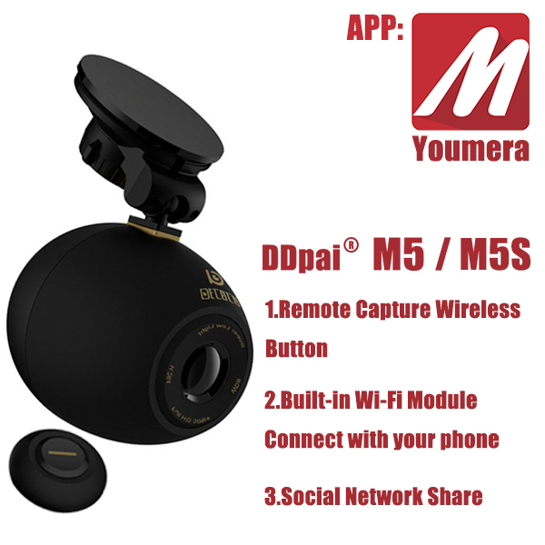 DDPai M5&M5s Youmera HD 1080P wide angle night vision car DVR camera recorder Wi-Fi Mini Recorder Remote Capture Wireless Button(China (Mainland))