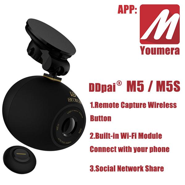 DDPai M5&M5s Youmera HD 1080P wide angle night vision car DVR camera recorder Wi-Fi Mini Recorder Remote Capture Wireless Button(China (Mainland))