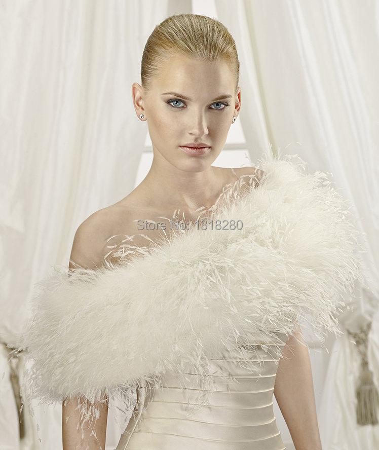 Elegant hot sale women ostrich feather fur shrug bridal for Fur shrug for wedding dress