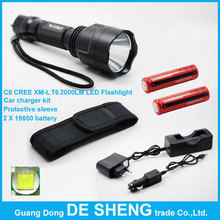 High power C8 waterproof LED Flashlight, USE CREE XM-L T6 chip+2*18650 Charging Battery+DC Car Charger+Protective sleeve(China (Mainland))