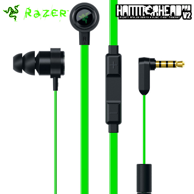 2016 New Razer Hammerhead Pro V2 Earphone with Microphone with Retail Box In Ear Gaming Headset Noise Isolation Stereo Deep Bass(China (Mainland))