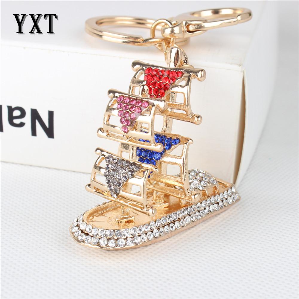 Fashion Sailing Boat Vessel Cute Charm Pendant Rhinestone Crystal Car Purse Key Chain Jewelry Wedding Gift(China (Mainland))