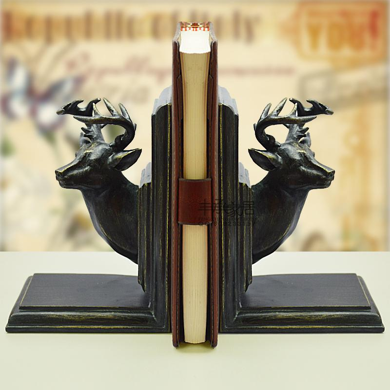 Brief elegant bookend fashion vintage book end accessories classical deer bookend inbookends - Stag book ends ...