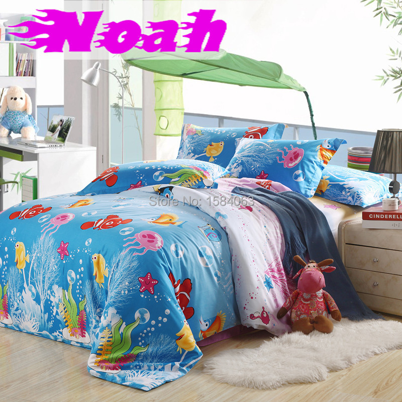 housse de couette 3d ocean finding nemo kids bedding set nautical cotton bed sheets duvet cover. Black Bedroom Furniture Sets. Home Design Ideas