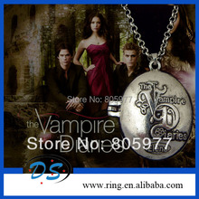 New Arrival Vampire Diary Damon BOX Necklace Letter Engraved Retro Punk Stefan Necklace Movie Jewelry(China (Mainland))