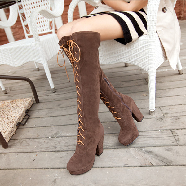 2014 Autumn new arrival fashion Cosplay Women Knee High Boots knee-length Lace Up Shoes High-heeled high leg boots XY072<br><br>Aliexpress