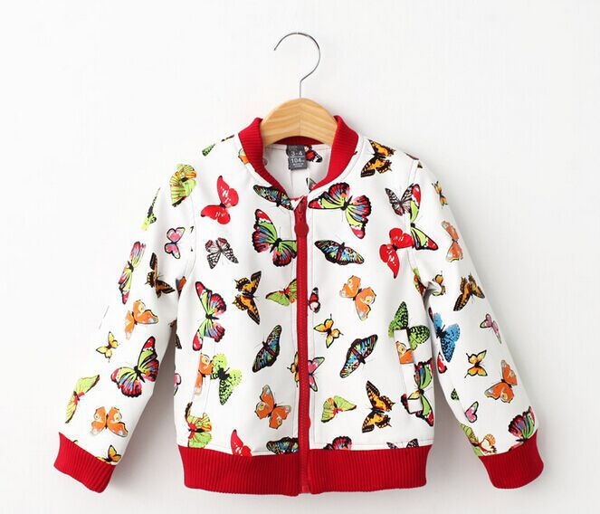 2015 Fashion Brand designer girls jackets kids leather jacket faux leather print with betterflies baby girls overcoat(China (Mainland))