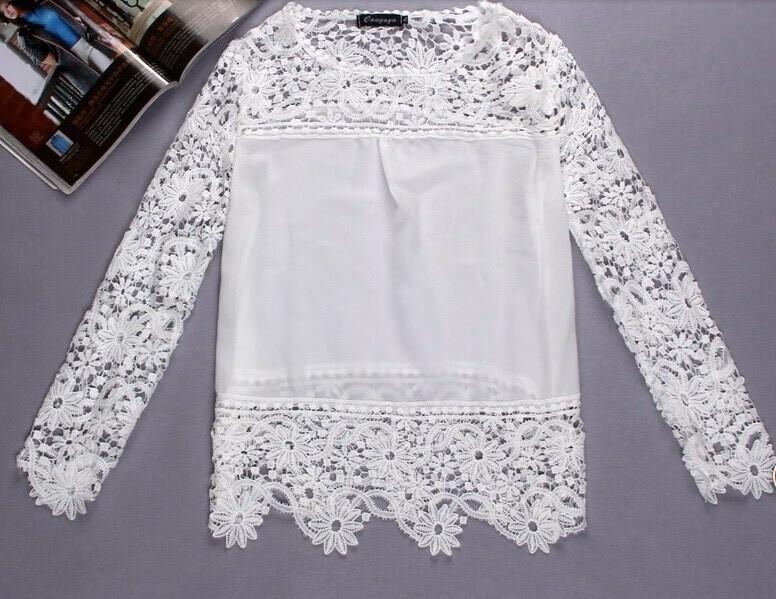 Yb41 min order=2pcs  New Lace Female Floral Long Sleeve Chiffon Plus Size Feminin Blouse Shirt  Blusas De Renda Blous Woman 2015(China (Mainland))