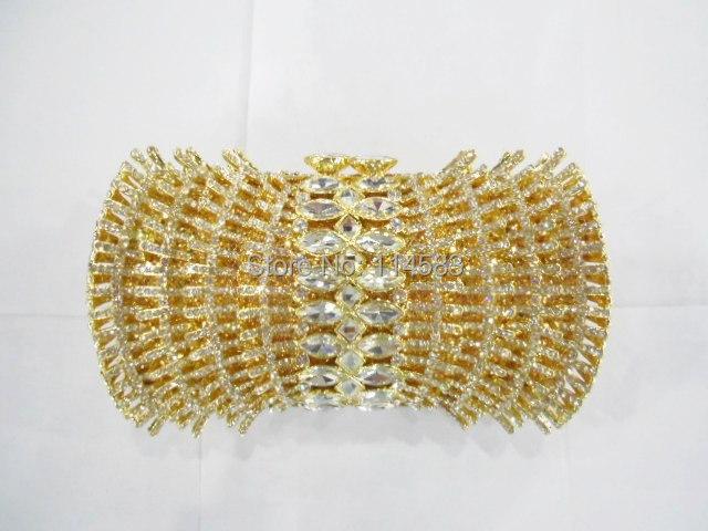 Фотография 8261G Crystal Wedding Bridal Party Night hollow Golden Metal Evening purse clutch bag handbag