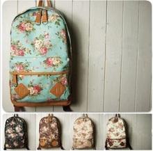 Nueva moda corrió mujeres niñas niño niños ventas calientes mochila mochila de lona Floral escuela deportiva de viaje mochilas muchos colores(China (Mainland))